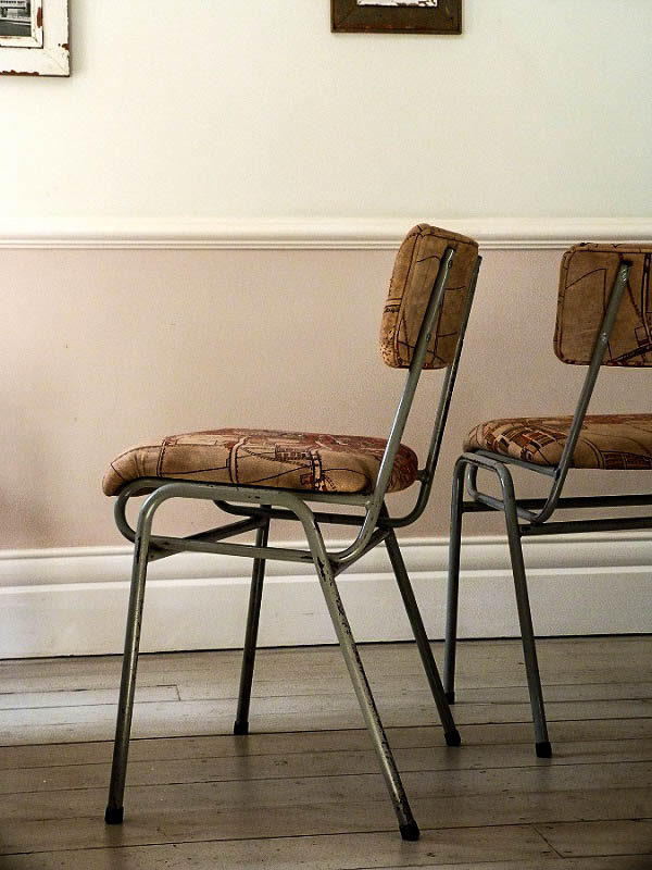 Pair Of Vintage Industrial Map Chairs Ormston Saint